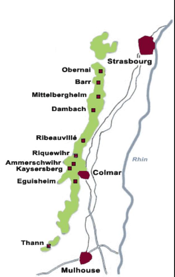 getekende kaart van de wijngebieden in de Elsaz