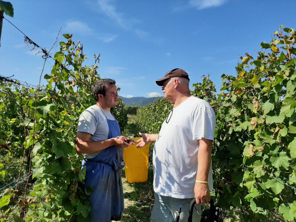 Arnaud Baur en Arend Jan in gesprek in de wijngaard