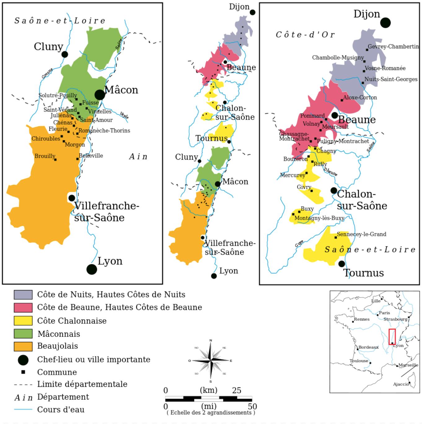 Getekende kaart van de wijngebieden in de Bourgogne