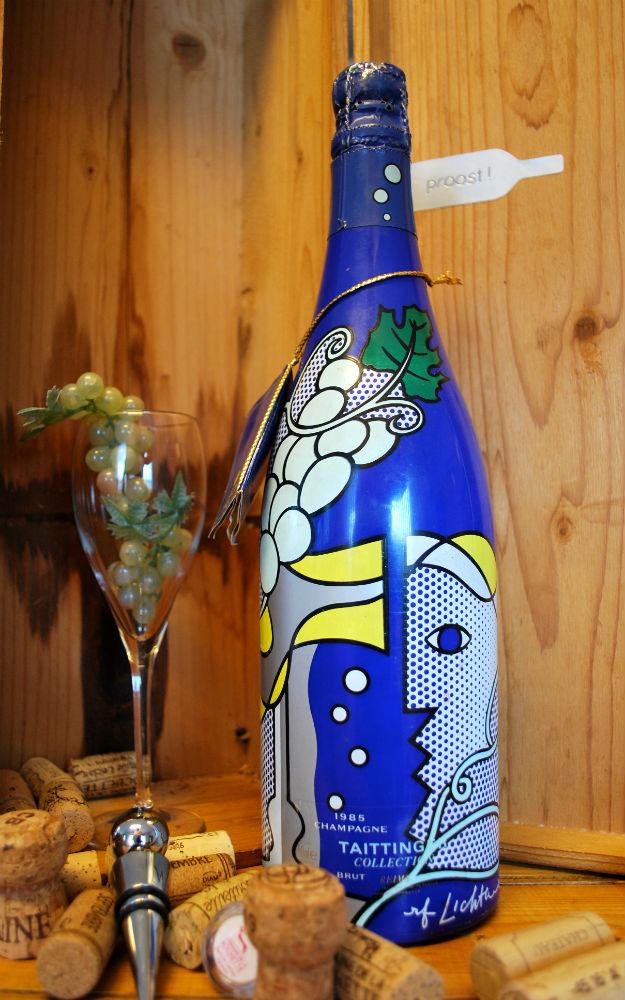 1 fles champagne uit de collection Taittinger van Roy Lichtenstein