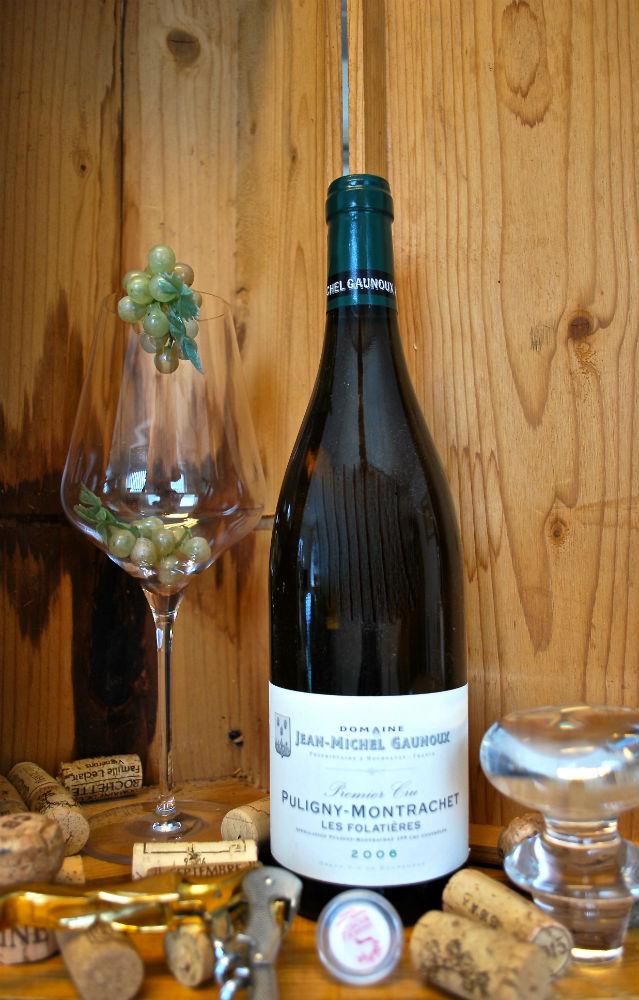 Fles Bourgogne Puligny Montrachet van Jean Michel Gaunoux