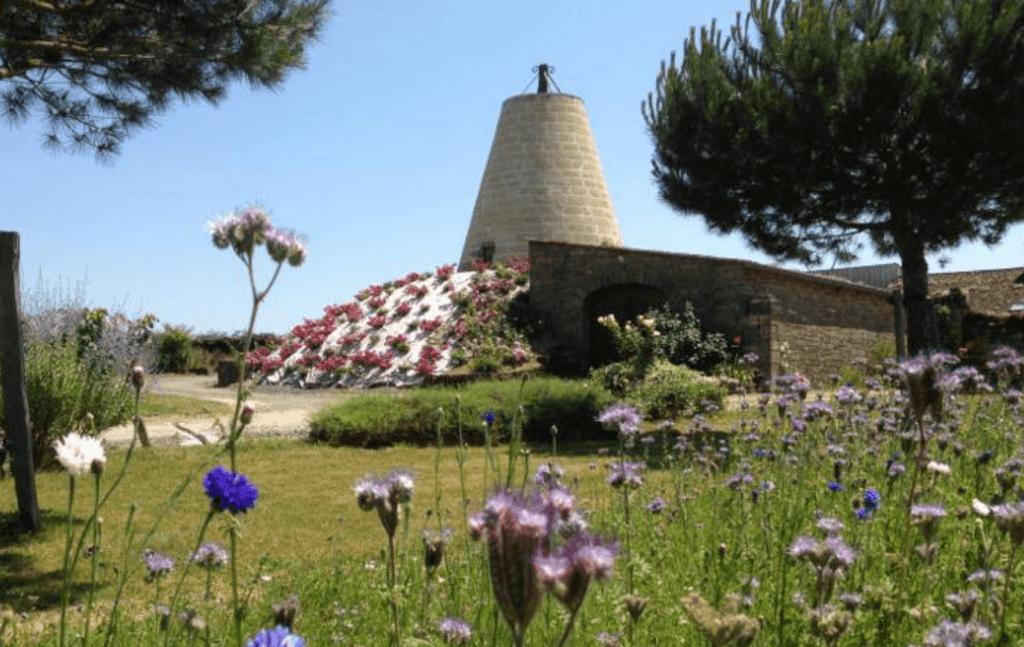 de toren van domaine des Bleuces met bloemen op de voorgrond