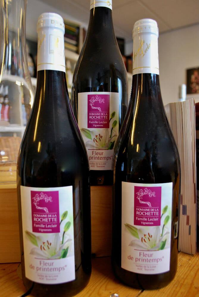 flessen fleur de printemps, rode wijn uit de Touraine van domaine de la Rochette