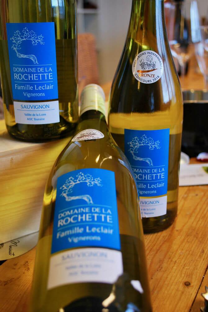 flessen sauvignon de Touraine van domaine de la Rochette