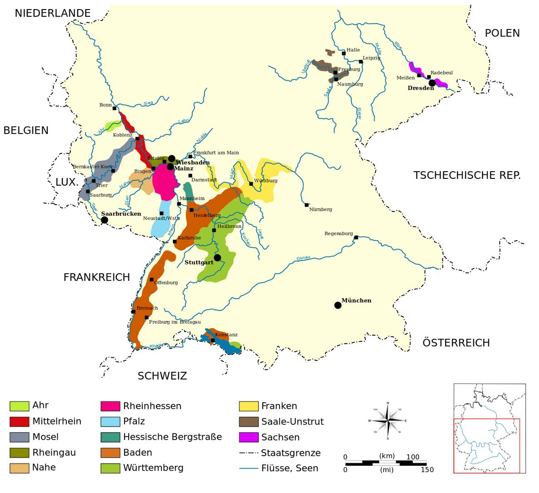 kaart met de wijngebieden in Duitsland