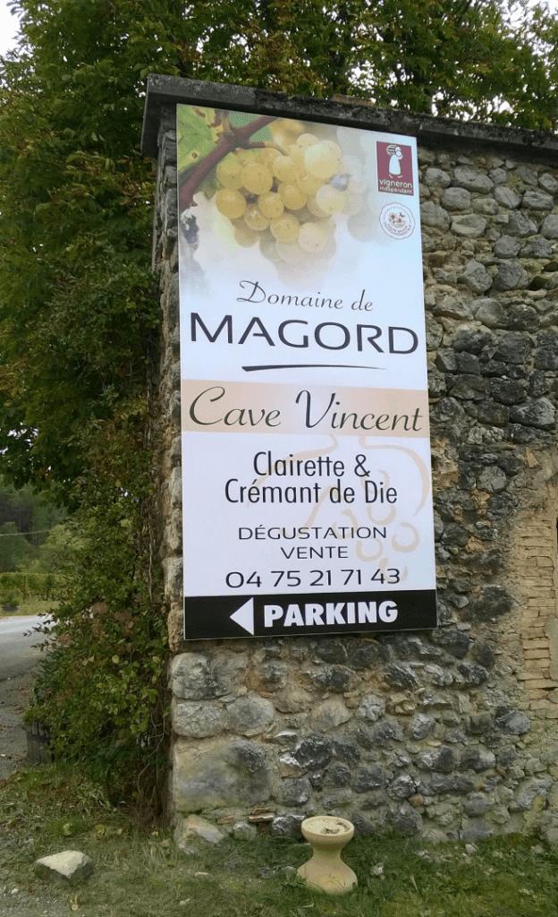 Bedrijfsbord van domaine de Magord