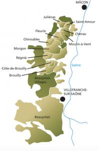de 10 Cru's van de Beaujolais in kaart gebracht.